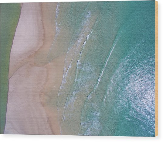 Aerial View Of Beach And Wave Patterns Wood Print