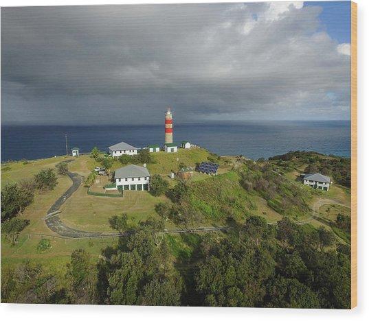Aerial View Of Cape Moreton Lighthouse Precinct Wood Print