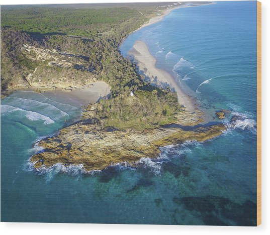 Aerial View Of North Point, Moreton Island Wood Print