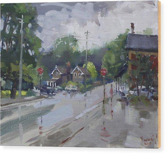Afetr Rain At Glen Williams On Wood Print