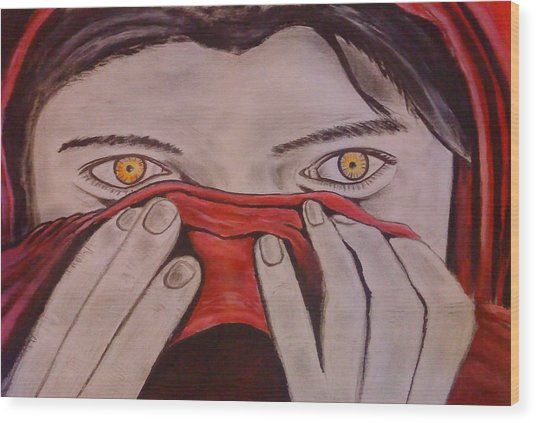 Afghan Girl Wood Print by Colin O neill