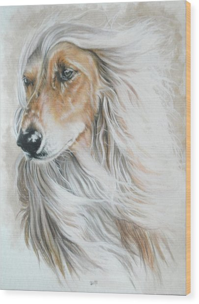 Wood Print featuring the mixed media Afghan Hound In Watercolor by Barbara Keith