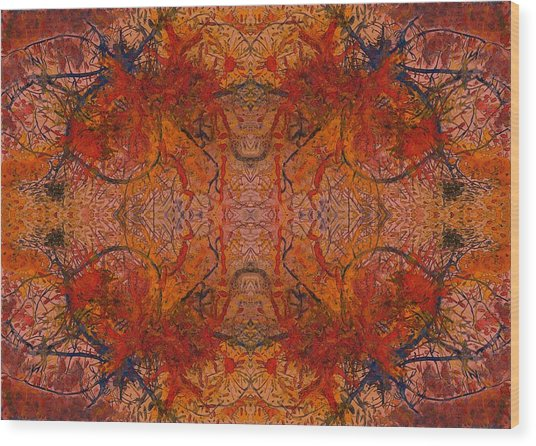 Aflame With Flower Quad Hotwaxed Version Of Acrylic/watercolour Wood Print