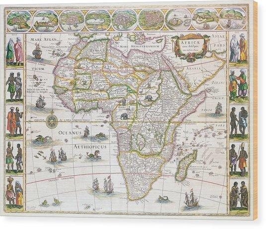 Africa Nova Map Wood Print