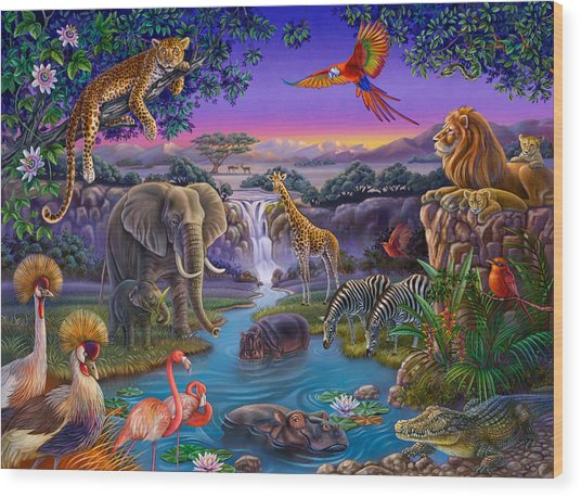 African Animals At The Water Hole Wood Print