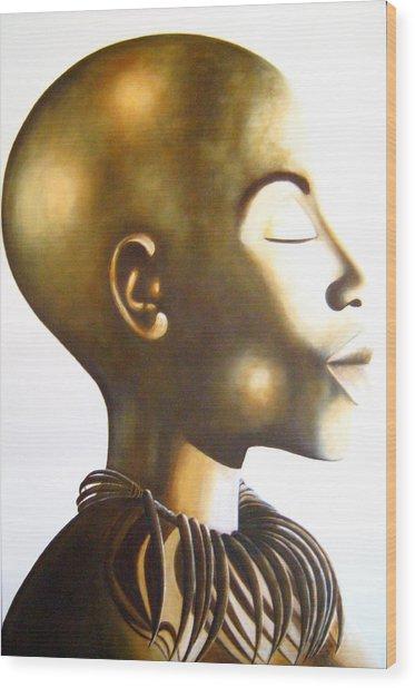 African Elegance Sepia - Original Artwork Wood Print
