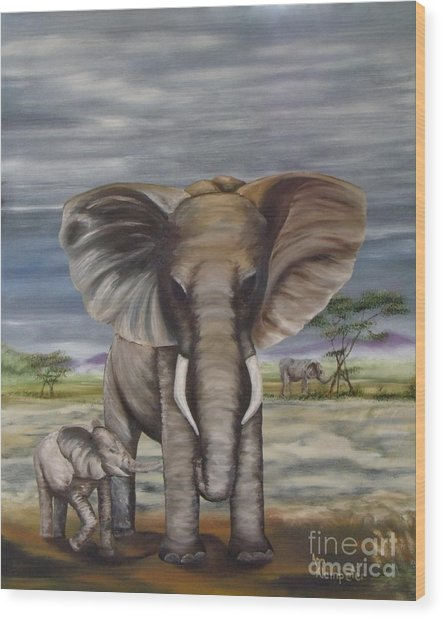 African Elephant Wood Print by Ann Kleinpeter