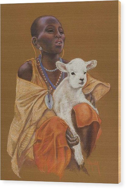 African Girl With Lamb Wood Print by Pamela Mccabe