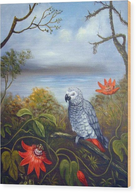 African Grey With Flowers Wood Print