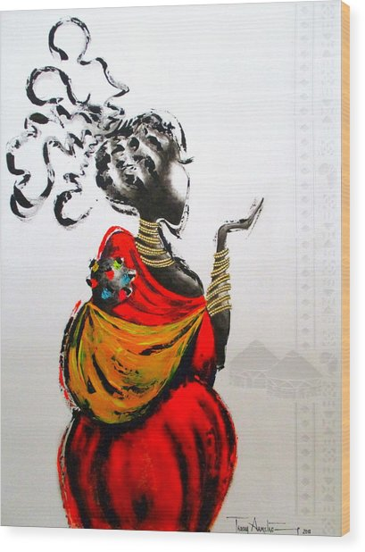African Lady And Baby Wood Print