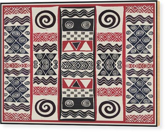 African Tribal Ritual Design Wood Print