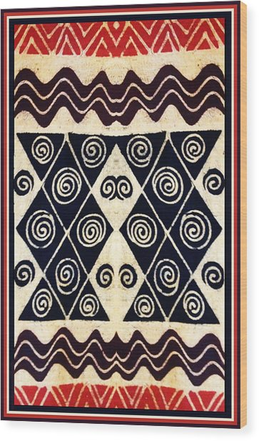African Tribal Textile Design Wood Print