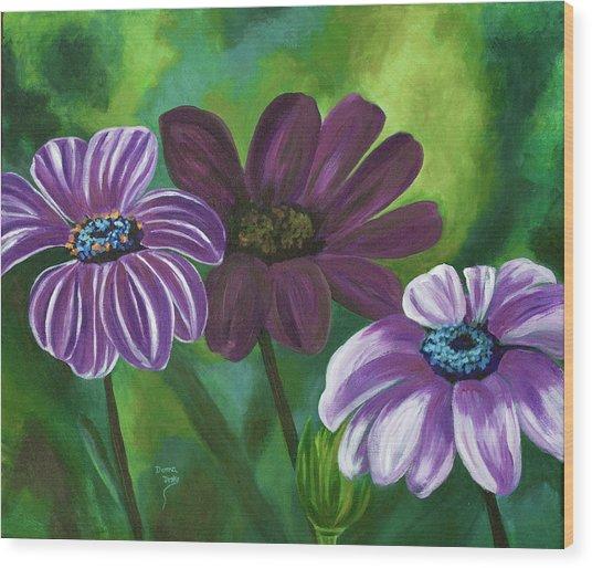 African Violets Wood Print