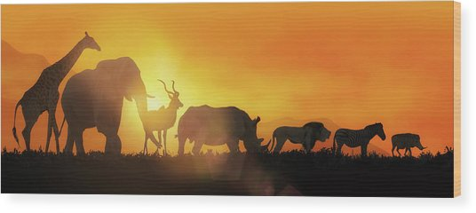 African Wildlife Sunset Silhouette Banner Wood Print
