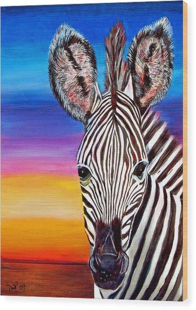 African Zebra Aura Wood Print