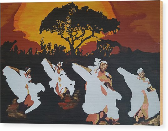 Afro Carib Dance Wood Print