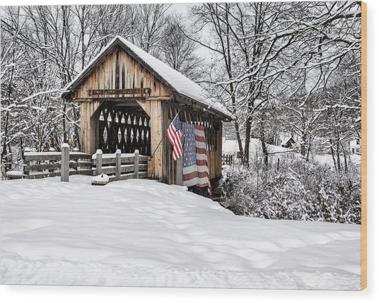 After A Winter Snow Storm Cilleyville Covered Bridge  Wood Print