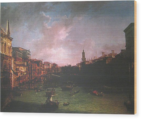 After Canal Grande Looking Northeast Wood Print by Hyper - Canaletto