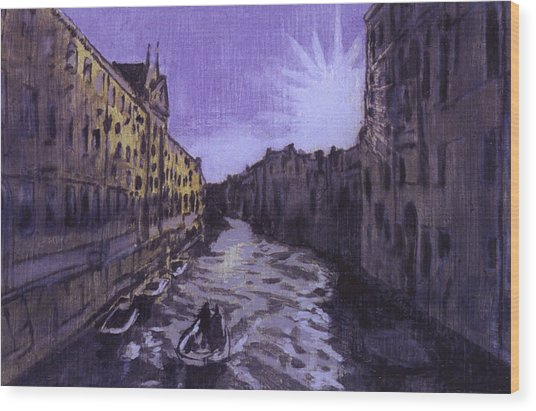 After Rio Dei Mendicanti Looking South Wood Print by Hyper - Canaletto