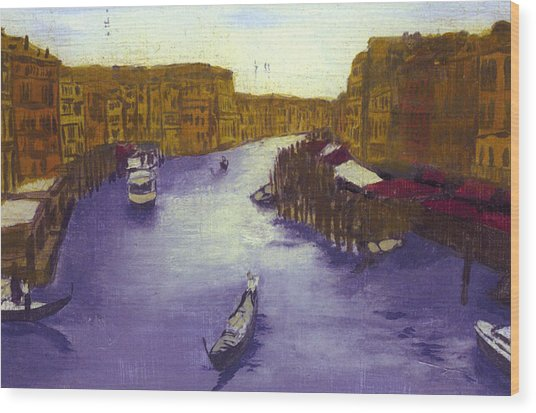 After The Grand Canal From The Rialto Bridge Wood Print by Hyper - Canaletto