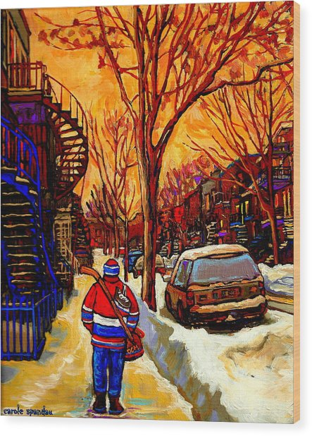 After The Hockey Game A Winter Walk At Sundown Montreal City Scene Painting  By Carole Spandau Wood Print