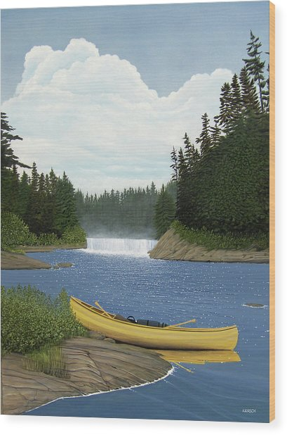 After The Rapids Wood Print