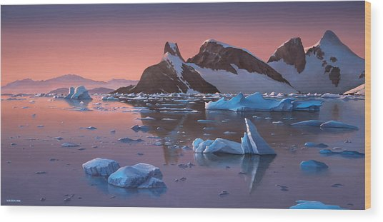 Afterglow Lemarie Channel Antarctica Wood Print