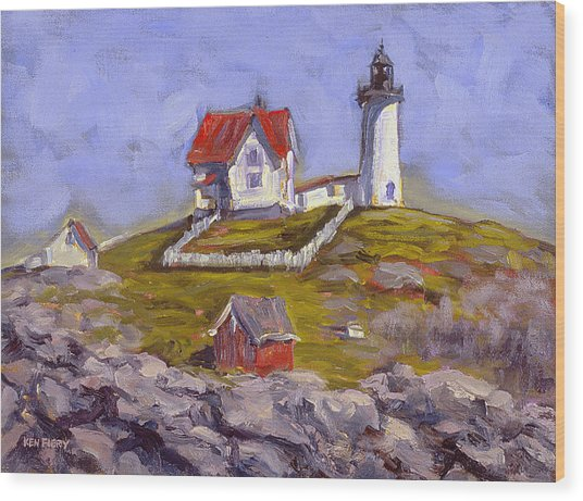 Afternoon At Nubble Light Wood Print