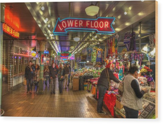 Afternoon At The Pike Street Market Seattle Washington Wood Print