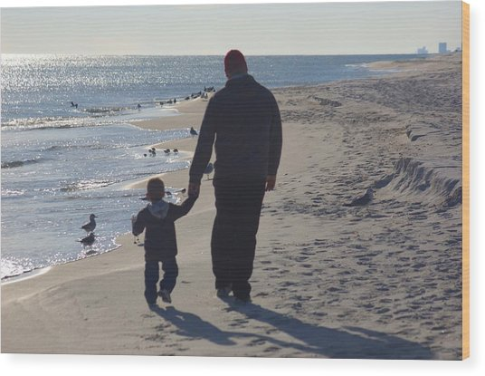 Afternoon Beach Walk Wood Print by Russell Ford
