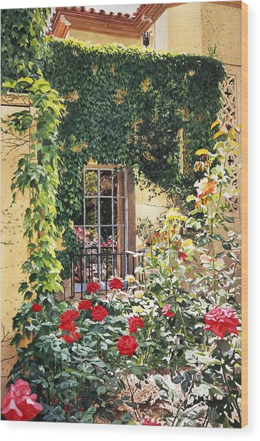 Afternoon In The Rose Garden Wood Print