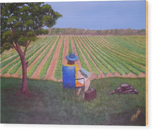 Afternoon In The Vineyard Wood Print