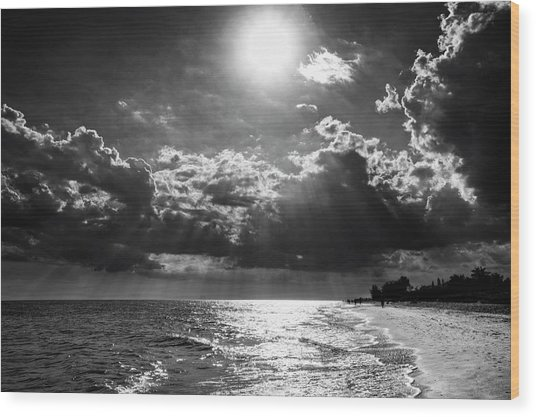 Afternoon On Sanibel Island In Black And White Wood Print