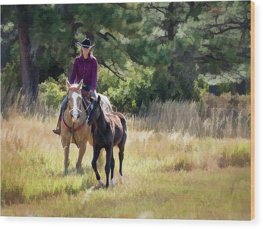 Afternoon Ride In The Sun - Cowgirl Riding Palomino Horse With Foal Wood Print
