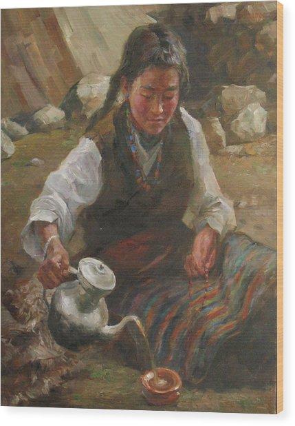 Afternoon Tea Wood Print by Kelvin  Lei