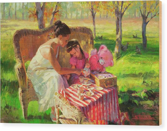 Afternoon Tea Party Wood Print