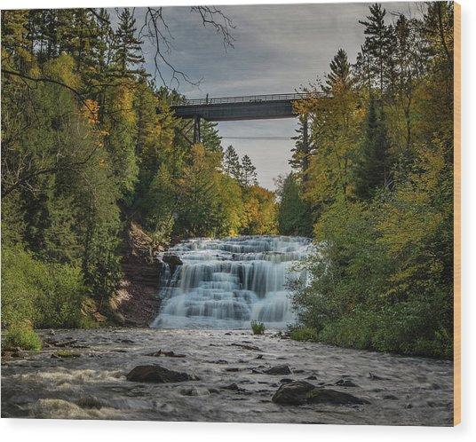 Agate Falls With Railroad Bridge Wood Print