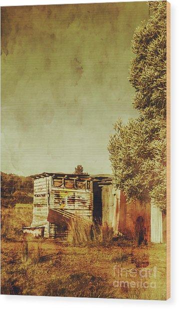 Aged Australia Countryside Scene Wood Print