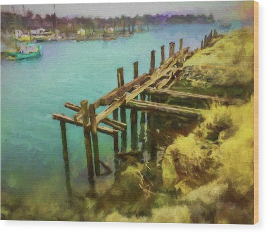 Aged Docks From Winthrop Wood Print