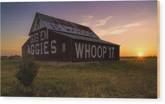 Aggie Sunset Wood Print