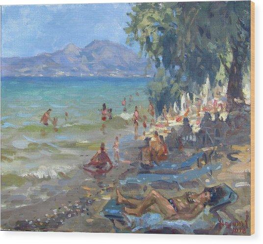 Agrilesa Beach Athens  Wood Print