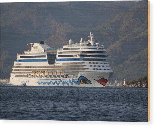 Aida Stella Cruise Ship Leaving Marmaris Wood Print