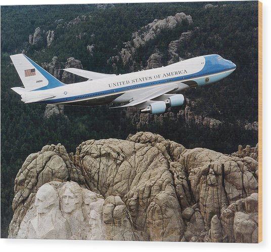 Air Force One Flying Over Mount Rushmore Wood Print