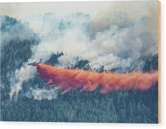 Air Tanker On Crow Peak Fire Wood Print