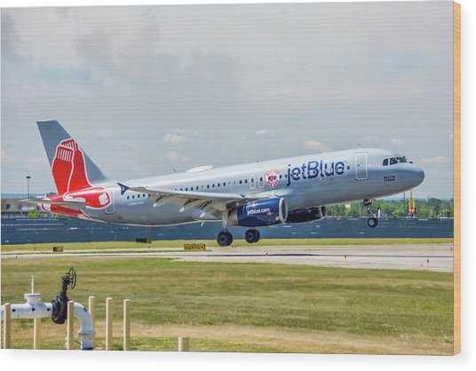 Airbus A320 Boston Strong Wood Print