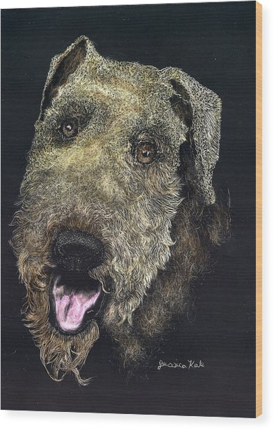 Airedale Terrier Portrait Wood Print by Jessica Kale
