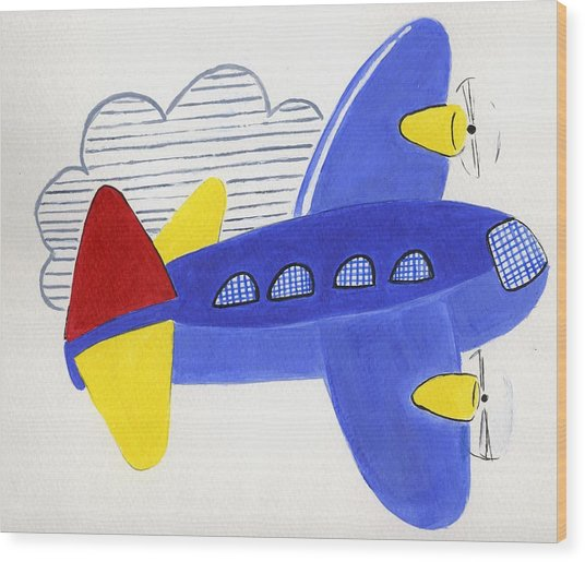 Airplane Wood Print by Christine Quimby