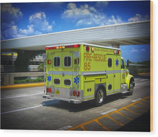 Airport Ambulance Wood Print