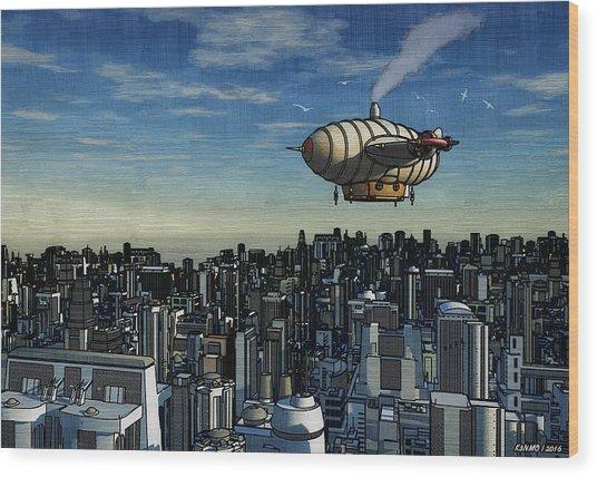 Airship Over Future City Wood Print