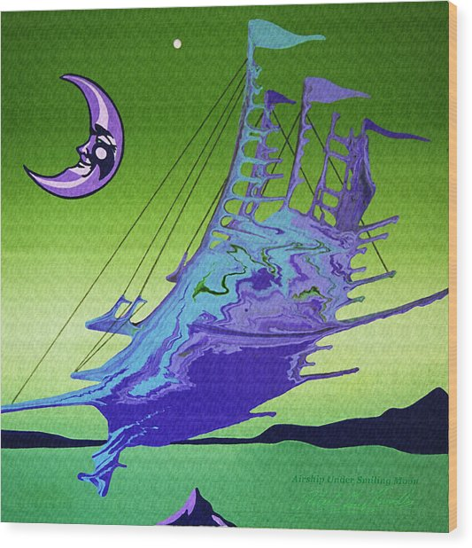 Airship Under A Smiling Moon  Wood Print